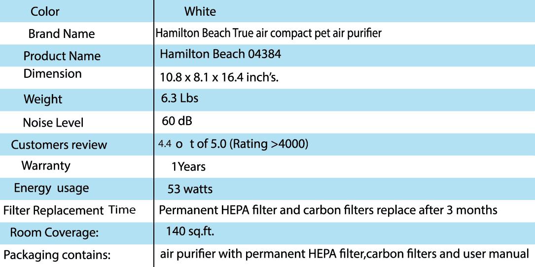 Hamilton Beach 04384 Purifier